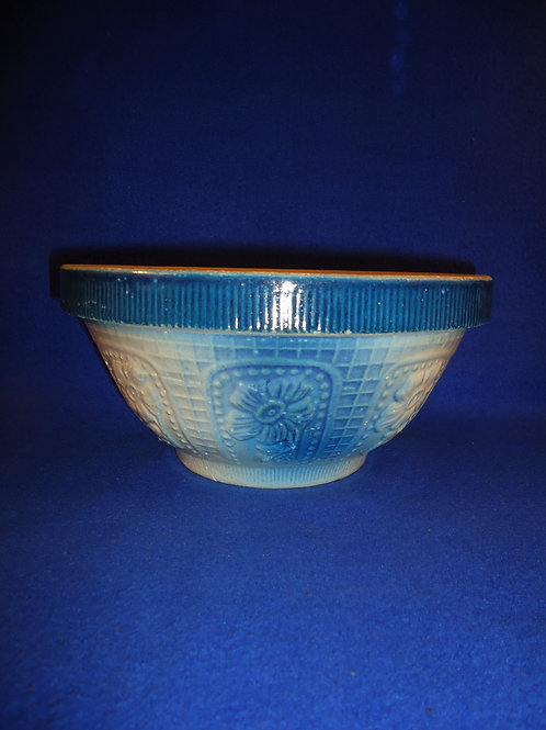 "Blue and White Stoneware 10"" Cosmos Flower Bowl #5130"