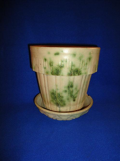 Houghton Pottery, Dalton, Ohio Stoneware Green Spongeware Flower Pot