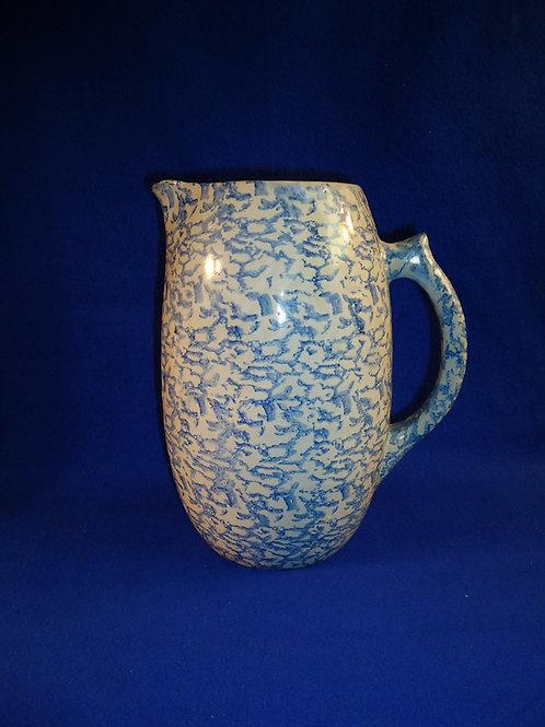 Blue and White Stoneware Spongeware Pitcher