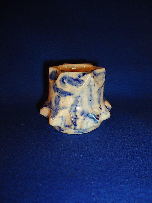 Blue and White Stoneware Spongeware Toothpick Holder