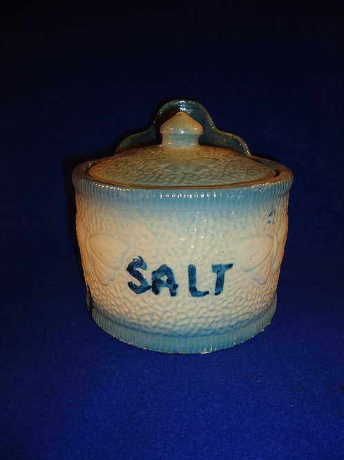 Blue and White Stoneware Salt Crock in the Butterfly Pattern