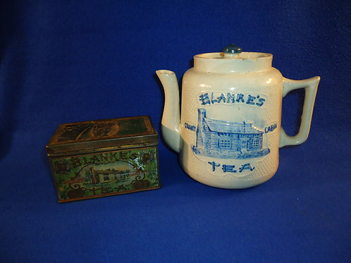 Blanke's Grant Cabin Teapot and Tin, St. Louis, Missouri, Whites of Utica NY