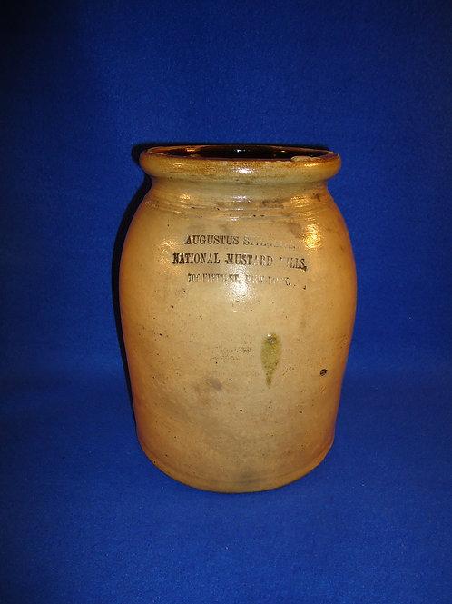 Augustus Stieglitz, Mustard Mills, New York City Stoneware Jar #5589