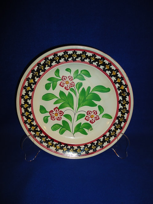 "11 1/4"" Stoneware Cut Spongeware Plate with Freehand Floral #5337"