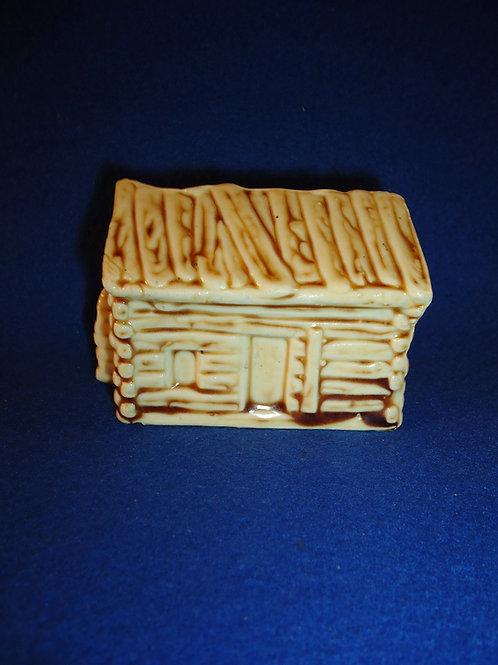 Van Dyk Teas Stoneware Bank, Abraham Lincoln's Log Cabin