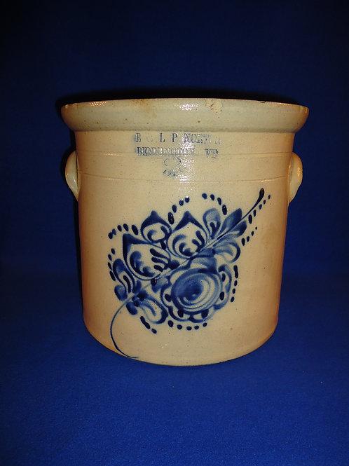 E. & L. P. Norton, Bennington, Vermont Stoneware 3g Crock with Floral #4563