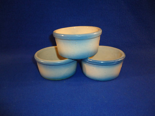 Three Blue and White Stoneware Ramekins in Diffused Blue