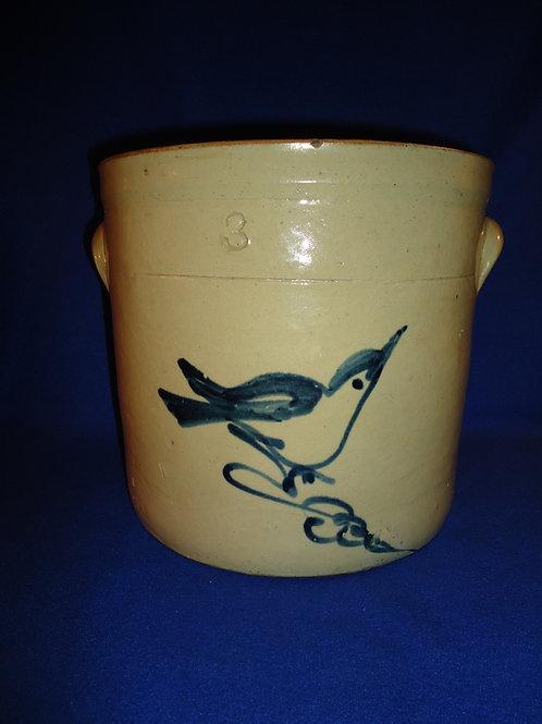 Fulper Pottery, Flemington, New Jersey Stoneware 3 gal. Crock with Bluebird