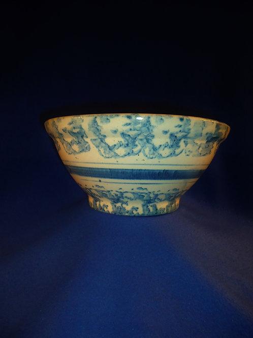 "Blue and White Striped Spongeware Stoneware Bowl- 10"""