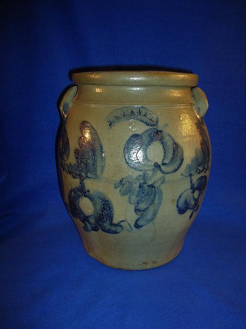J. Weaver, Beaver, Pennsylvania Stoneware 3 Gallon Jar with Tulips #4706