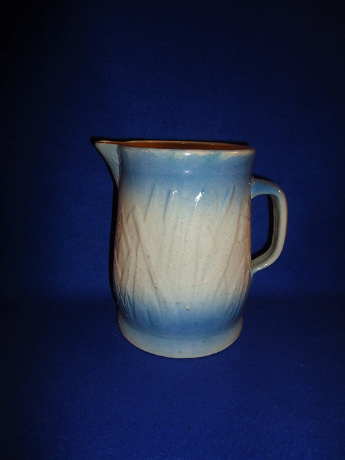 """Blue and White Stoneware Cattails and Rushes Pitcher 7""""  #5518"""