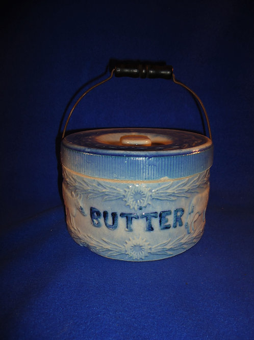 Blue and White Stoneware Butter Crock, Cows Fence Pattern #5357