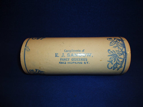 Blue and White Stoneware Rolling Pin, Sandow Grocery, Milwaukee, Wisconsin