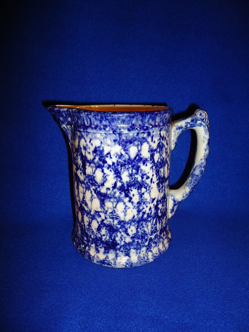 "Blue and White Spongeware 6 1/2"" Stoneware Hall Boy Pitcher"