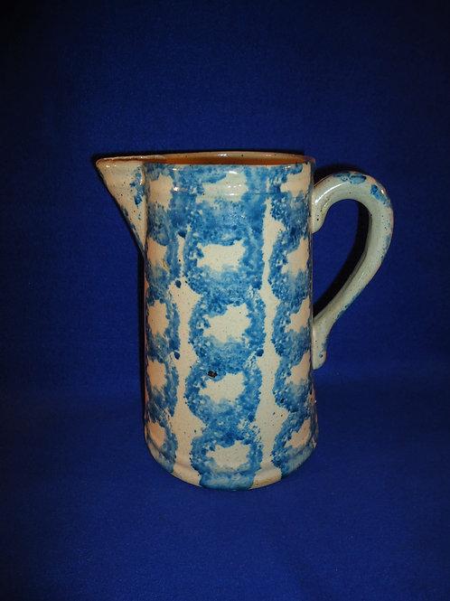 Blue and White Spongeware Stoneware Pitcher, Smoke Ring Pattern #5236