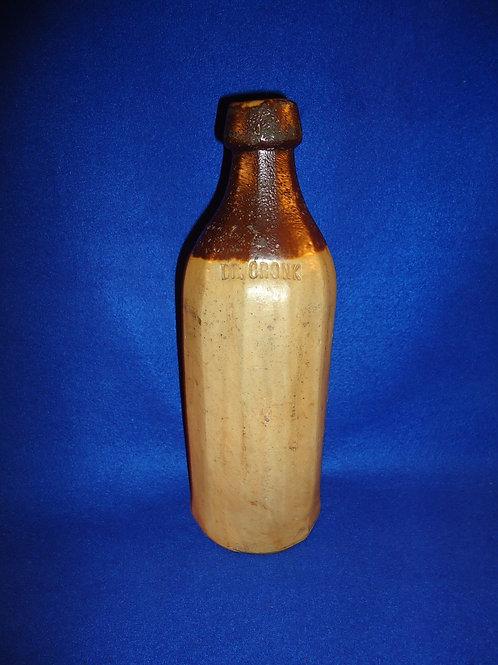 Dr. Cronk Stoneware Sarsaparilla Bottle with Albany Slip Dipped Top