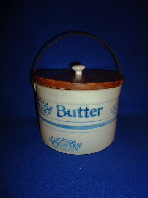 Blue and White Stoneware Butter Crock, Apple Blossom (Snowflake) #5890
