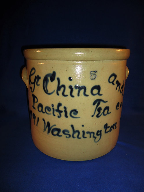 Great China and Pacific Tea Company Stoneware 5 Gallon Script Crock #5603