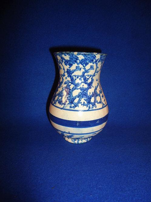 Blue and White Spongeware Stoneware Toothbrush Holder #5728