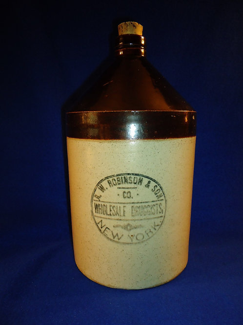 R. W. Robinson, Druggist, New York City Stoneware 1 Gallon Jug
