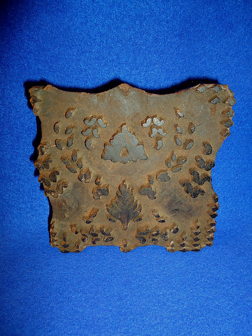 19th Century Hand-Carved Walnut Cloth or Wallpaper Stamp