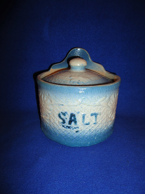Blue and White Stoneware Salt Crock, Daisy on Snowflake Pattern #5350