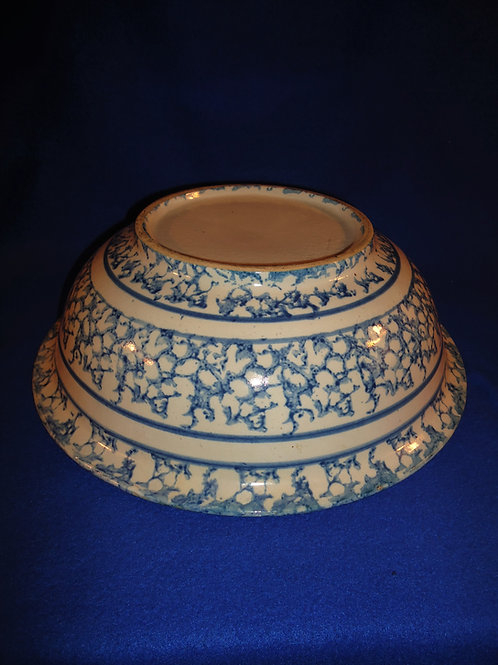 Blue and White Spongeware Stoneware Wash Basin#4502