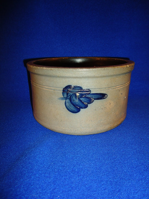 1 Gallon Stoneware Butter Crock with Leaves, att. New Jersey