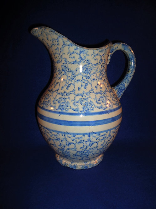 Blue and White Spongeware Stoneware Wash Pitcher with Stripes #4716