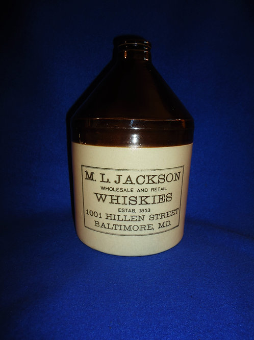 M. L. Jackson, Baltimore, Maryland Stoneware Whiskey Jug by Sherwood Bros.