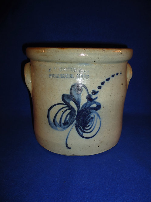 F. B. Norton, Worcester, Massachusetts 1g Stoneware Crock with Floral #5044
