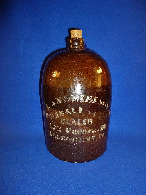 Andries, Allegheny, Pennsylvania Stoneware Liquor Jug #4535