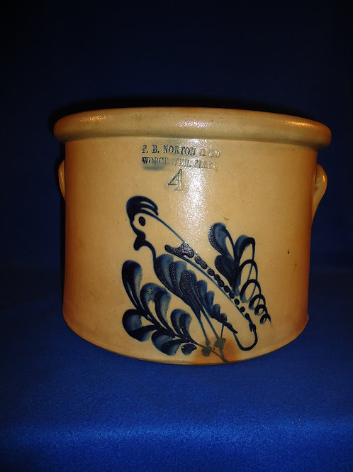 F. B. Norton, Worcester, MA 4 Gallon Stoneware Cake Crock with Parrot #5088