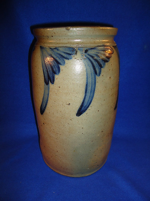 Circa 1870 1 1/2 Gallon Stoneware Jar with Comma Vining att. Baltimore Maryland