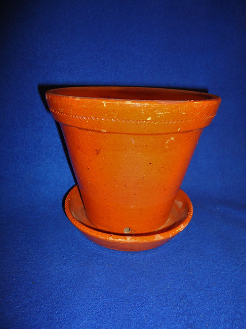 Redware Flower Pot with Attached Saucer, Pumpkin Coloration #4542