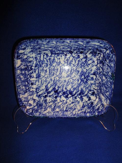 Blue and White Spongeware Stoneware Baking Dish with Dark Cobalt #5645