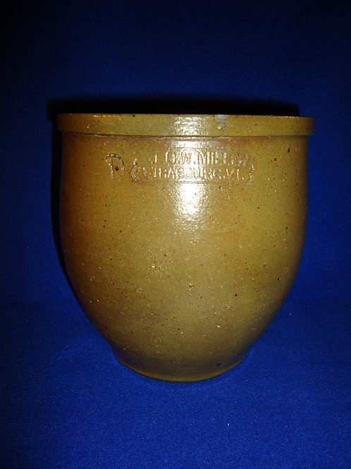 George Miller, Strasburg, Virginia Stoneware 1 Gallon Ovoid Jar