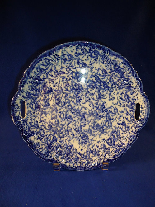 Blue and White Stoneware Spongeware Cookie Plate with Pierced Handles