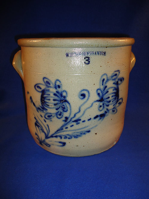 Whites Binghamton Stoneware Crock, Double Poppies, #4903
