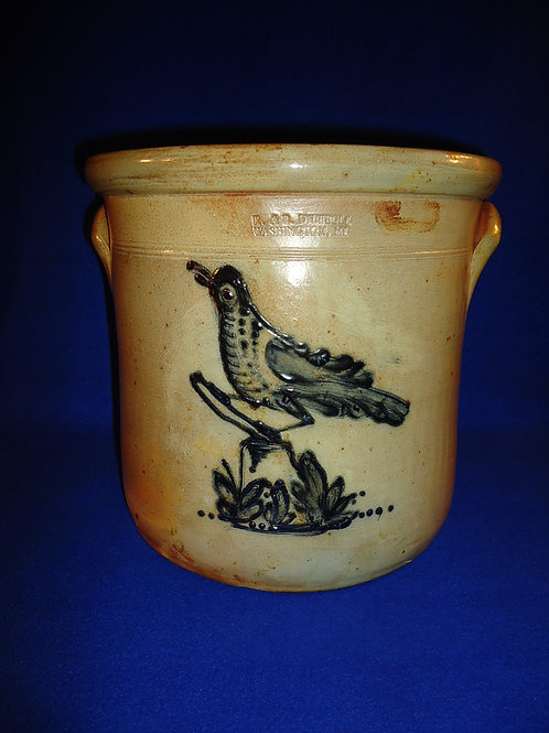 R. & B. Diebboll, Washington, Michigan Stoneware 2g Crock with Bird on a Stump