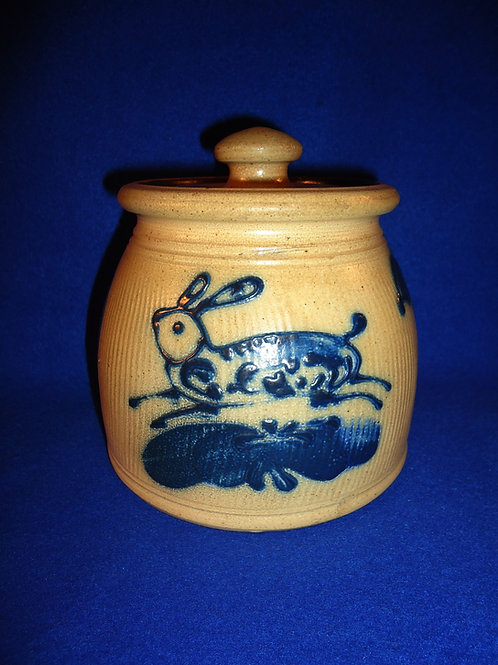 R. & B. Diebboll, Washington, Michigan Stoneware Lidded Jar with Rabbit