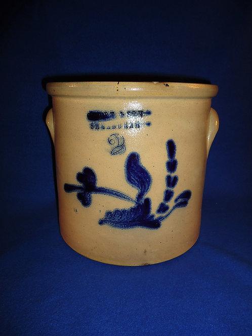 C. Hart, Sherburne, New York Stoneware 2g. Crock with Plow Flower #5816
