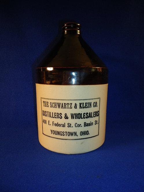 Schwartz & Klein, Distillers, Youngstown, Ohio Stoneware 1/2 Gallon Jug