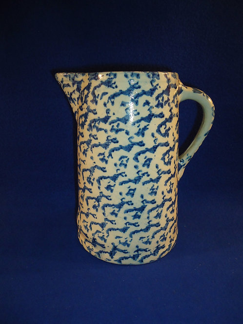 Blue and White Stoneware Spongeware Pitcher with Controlled Sponging