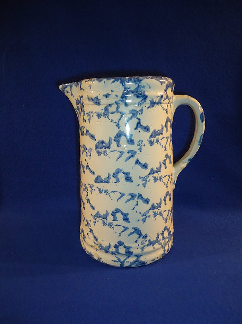 Circa 1900 Blue and White Spongeware Stoneware Pitcher
