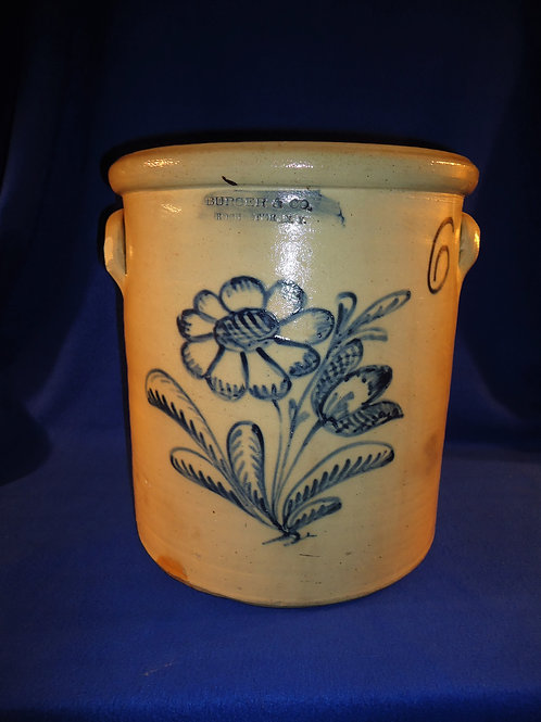 Monumental 6 Gallon Stoneware Crock with Huge Floral, Burger of Rochester, N. Y.