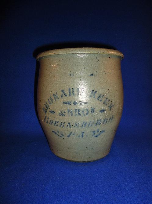 Leonard Keek, Greensburgh, Pennsylvania Stoneware 1 Gallon Ovoid Jar
