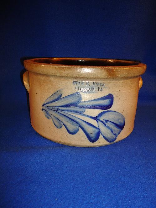 Evan Jones, Pittston, Pennsylvania Stoneware Butter Crock with Tulip #5860