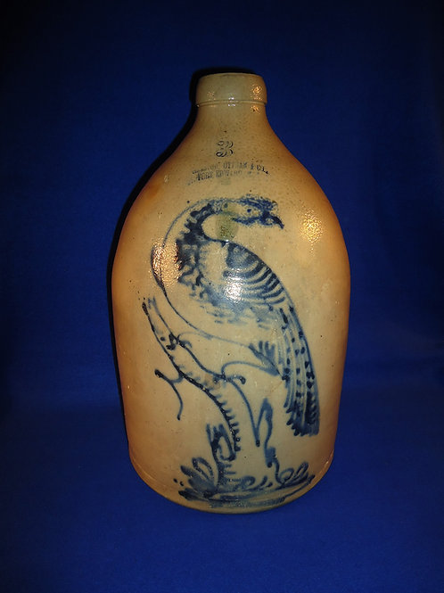 Haxstun, Ottman, Fort Edward Stoneware 3 Gallon Jug with Pheasant on a Stump