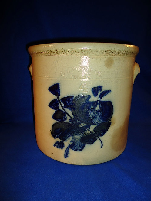 N. A. White, Utica, New York Stoneware 4 Gallon Crock with Double Orchid
